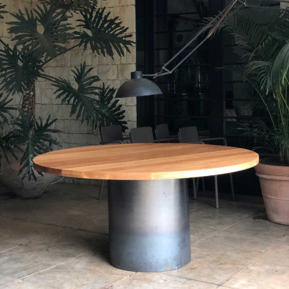 French Oak with Steel Base